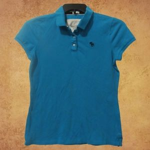 Abercrombie Blue Women's Stretch Polo Large